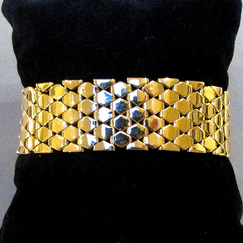 "Retro 14K Wide ""Fish Scale"" Link Bracelet"