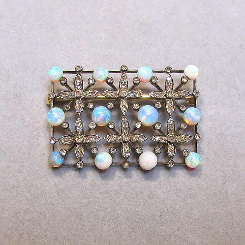 Antique Victorian 14K & Silver Brooch with Opals and Diamonds