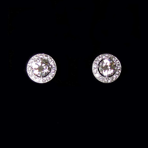 Large Round 18K White Gold Diamond Halo Stud Earrings