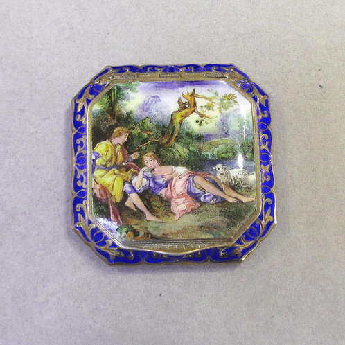 Antique Sterling Silver Enamel Compact with Romantic Scene