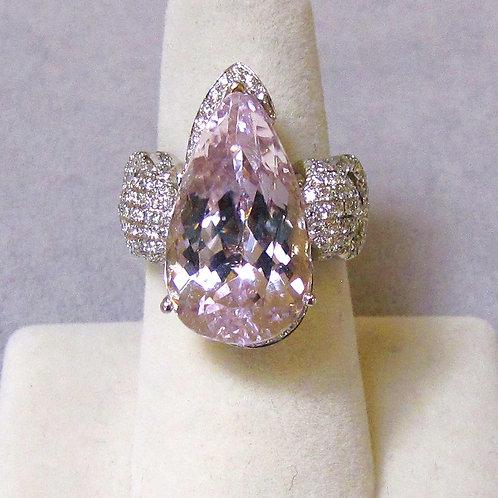 Fancy 18K White Gold Pear Kunzite and Diamond Ring