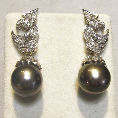 White Gold Tahitian Pearl and Diamond Day-to-Night Drop Earrings