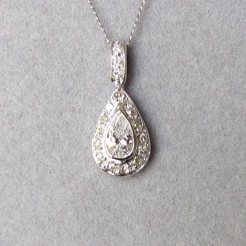 White Gold Pear Shape Diamond Pendant
