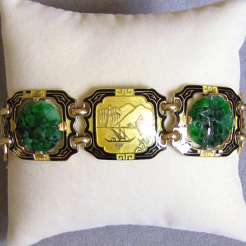 Art Deco Yellow Gold Jade and Enamel Bracelet