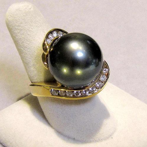 Modern 18K Large Tahitian Pearl and Diamond Ring