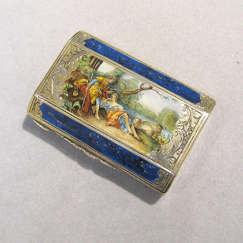 Antique Sterling Silver Box / Compact with Enameled Romantic Scene