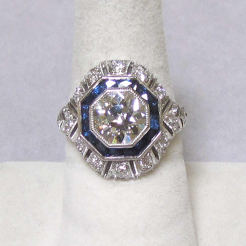 Art Deco Style Ring with 2.06 Carat Old European Cut Diamond