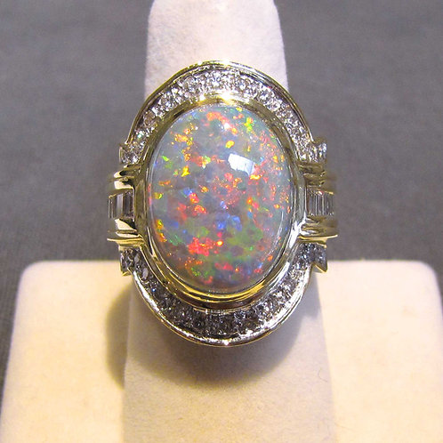 Fancy Large Opal and Diamond Ring
