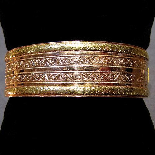 Antique French Yellow & Rose Gold Bangle Bracelet