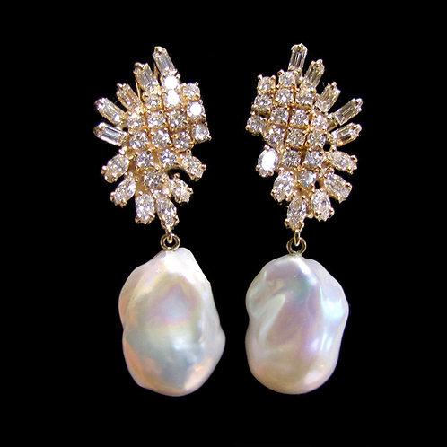 Fancy Diamond and Baroque Freshwater Pearl Drop Earrings