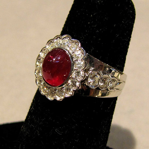 White Gold Cabochon Ruby and Diamond Ring