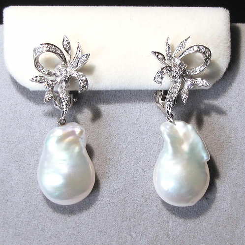 White Gold Diamond and Baroque Freshwater Pearl Convertible Drop Earrings