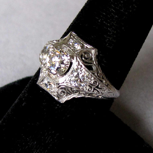 Late Edwardian Platinum and Old European Cut Diamond Ring