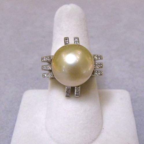 Retro Golden South Sea Pearl and Diamond Ring