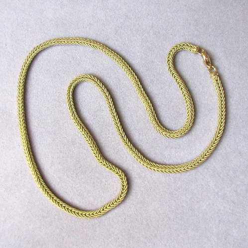 Italian 18K Heavy Textured Wheat Link Necklace