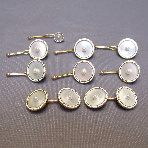 Antique Pearl and Mother-Of-Pearl Tuxedo Set with Studs & Cufflinks
