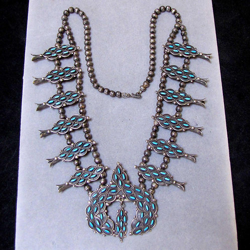 Vintage Zuni Sterling Silver Petit Point Turquoise Squash Blossom Necklace