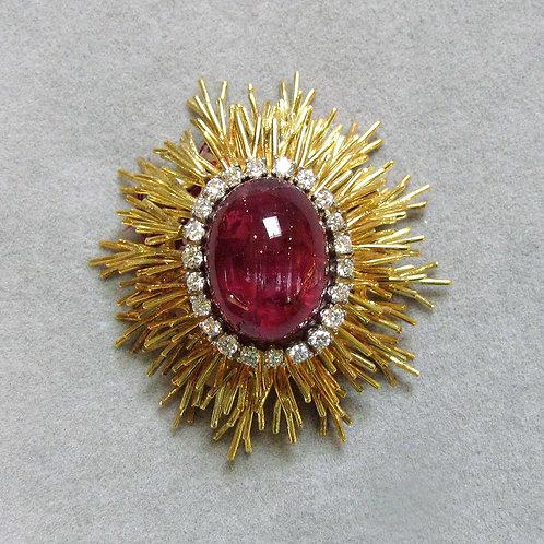 18K Diamond Brooch with Interchangeable Center Gemstones