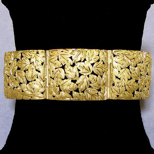 Wide Heavy18K Link Bracelet with Leaf Motif