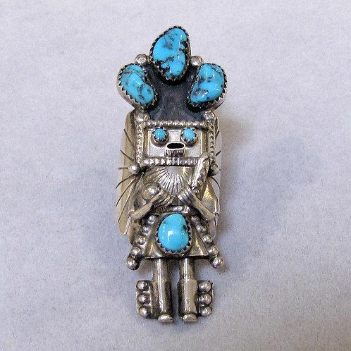 Navajo Sterling Silver Turquoise Kachina Ring by Doris Smallcanyon