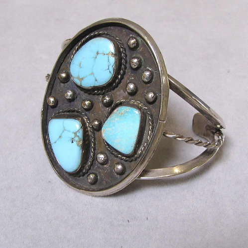 Large Vintage Navajo Sterling Silver and Turquoise Cuff Bracelet