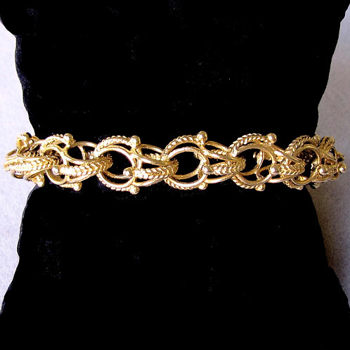 14K Fancy Link Bracelet with Textured Accents