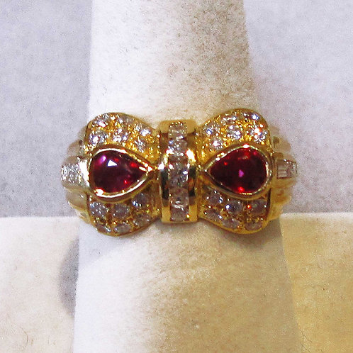 18K Ruby and Diamond Bow-Tie Ring