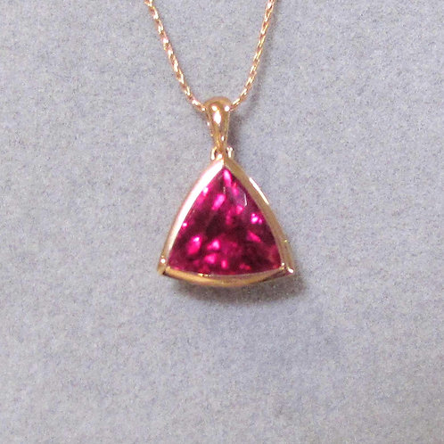 Rose Gold Trillion Cut Vivid Pink Tourmaline Solitaire Pendant