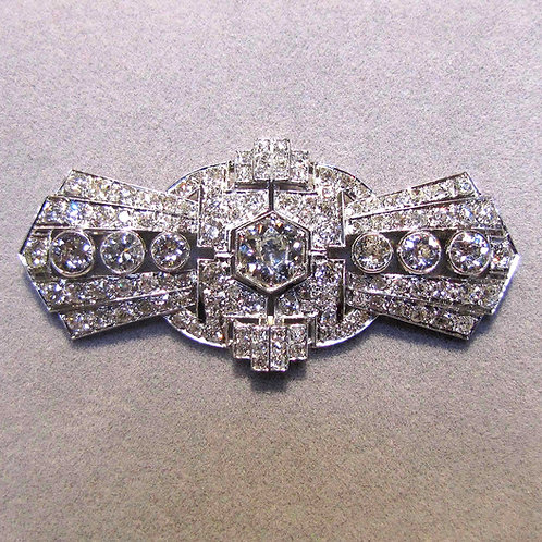 Large Art Deco Platinum and Diamond Brooch