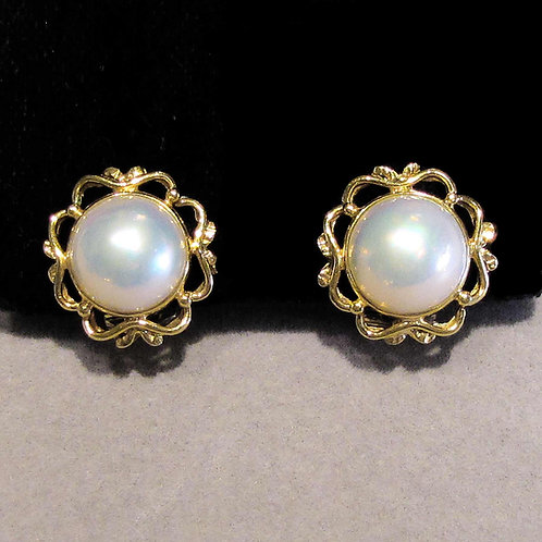 14K Mabe Pearl Button Earrings