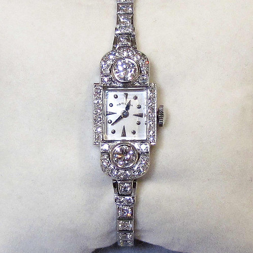 Art Deco Hamilton Platinum and Diamond Ladies' Wristwatch