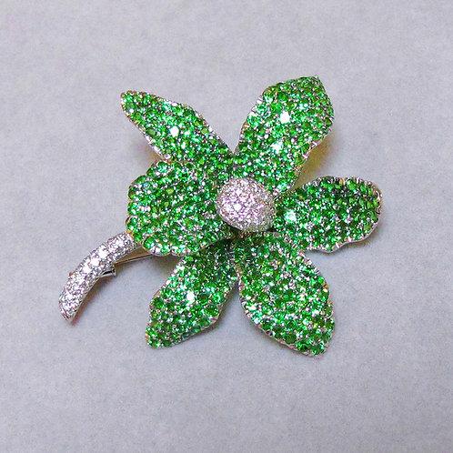 Large 18K Green Tsavorite Garnet and Diamond Flower Brooch