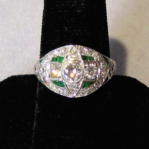Antique Edwardian Platinum Diamond Low Dome Ring
