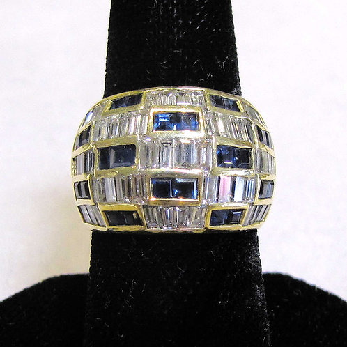 Wide 18K Diamond and Sapphire Band Ring
