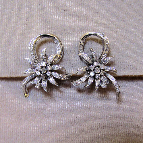 Vintage Palladium Diamond Flower & Ribbon Earrings