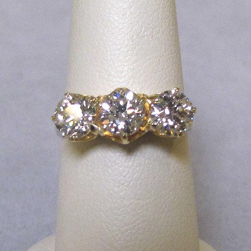 18K Victorian Three-Diamond Ring