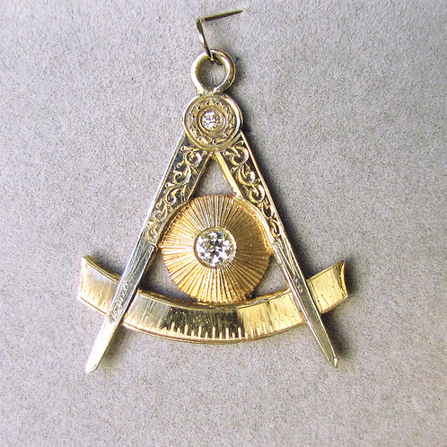 Vintage Gold and Diamond Masonic Pendant / Fob