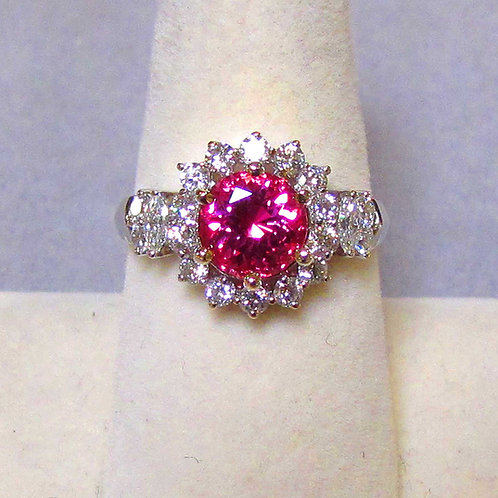 18K Vivid Pink Natural Spinel and Diamond Ring