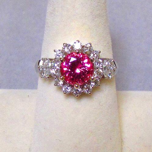 18K Vivid Pink Natural Spinel and Diamond Ring