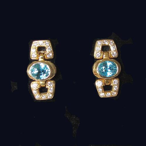18K Blue Zircon and Diamond Earrings