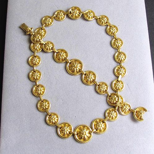 Heavy 18K Flower Medallion Link Necklace / Bracelet Set