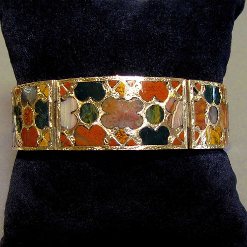 Antique Scottish 14K Inlaid Jasper & Agate Bracelet