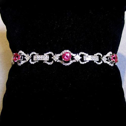 18K Vivid Pink Natural Spinel and Diamond Line Bracelet