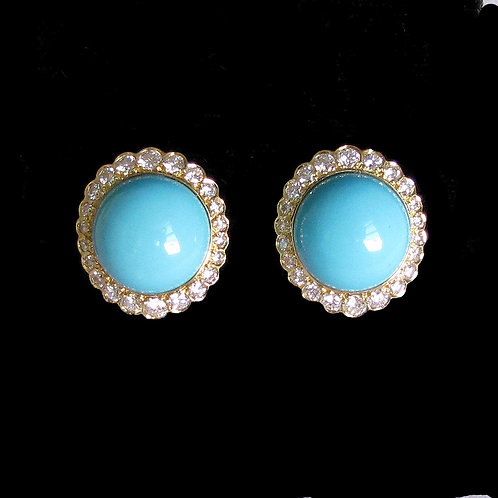 18K Turquoise and Diamond Button Earrings