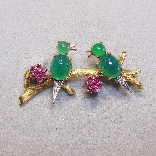 18K Two Birds On a Branch Gemstone Pin