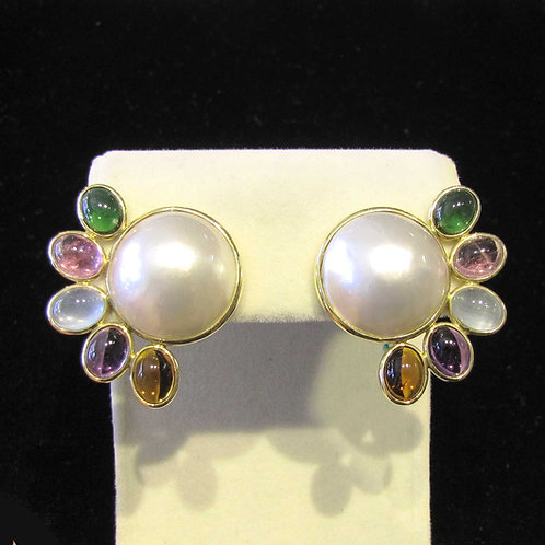 Mabe Pearl and Mixed Colored Gemstone Earrings