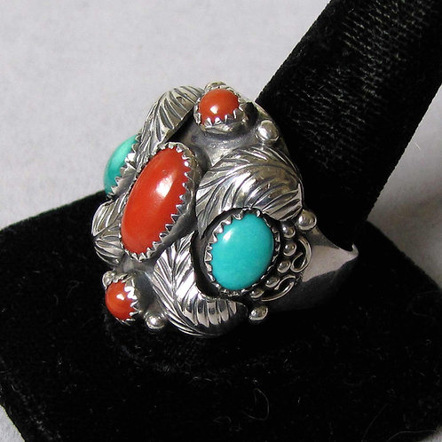 Navajo Sterling Silver Turquoise and Coral Ring with Feather Details