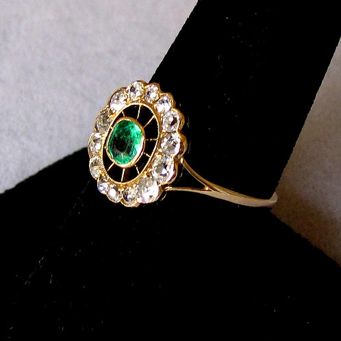 Antique Victorian Emerald and Diamond Ring