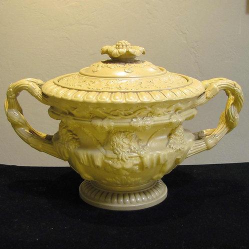 Antique English Warwick Porcelain Lidded Vase