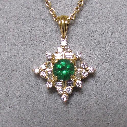 18K Emerald and Diamond Pendant